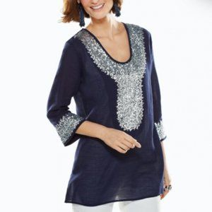 Chico's 0 Small Silver Sequin Tunic Navy Blue